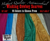 Wicking Cowboy Scarves 44 Colors 2 Sizes plus Antimicrobial