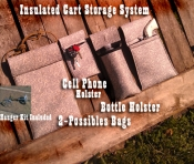 CART STORAGE SYSTEM Padded/ Insulated Foam Possibles Bags, Cell Holster and Bottle Holster